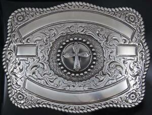 Crumrine Western Rectangle Cross Silver ribbon belt buckle 3807045