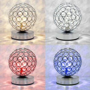 Modern LED Crystal Round Ball Desk Lamp G9 Bedside Study Office Table Light