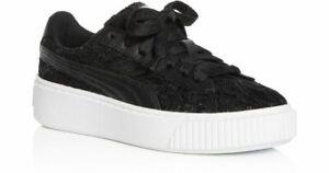 New Puma Womens Basket Platform Black Floral Leather Fashion Shoes Sz US 6 EU 36