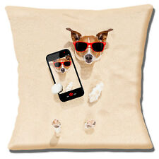 "NEW FUNNY NOVELTY JACK RUSSELL BURIED IN SAND 'SELFIE' 16"" Pillow Cushion Cover"