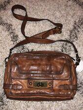Frye Purse Cross Body Leather Vintage Brown Cognac Shoulder Zip Handbag Boho