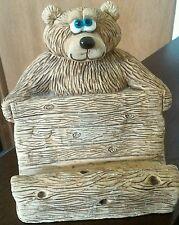 "Cute Bear Business Card Recipe Holder Handmade 4"" Tall"