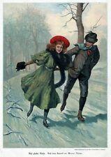 Eislauf, Schlittschuhlauf, Original-Farbholzstich von ca. 1890