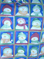 Winter Snowmen Nurses Scrub Top  V Neck 2 Pocket Lge Cotton Blend Used Side Slit