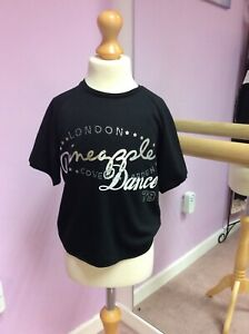 Girls Pineapple Black Dance top with silver text