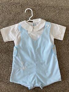 Feltman Brothers Boys Blue Nautical Shortall Outfit & Shirt Set size 18mo