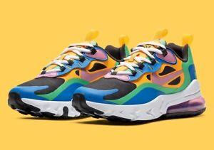"Nike Air Max 270 React GS ""Gumball"" Youth Size 2 NOIR/MGC FLMNGO CU4668 001"