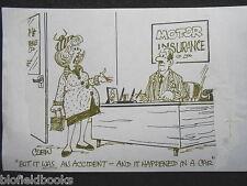 """Clifford C Lewis """"angolo di scotta"""" Originale Penna E Inchiostro CARTONE ANIMATO-assicurazione AUTOVEICOLI LADY #147"""