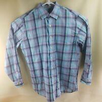 Peter Millar Men's Sz MEDIUM 100% Cotton Plaid Long Sleeve Button Shirt Blue