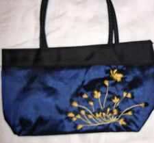 MAX GREY Blue/Black SHIMMER Fabric FLOWERS & BUTTERFLY EMBROIDERED Purse