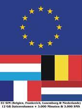 EU SIM (Belgien, Niederlande, Luxemburg & Frankreich) mit 12 GB und Telefonie Tr