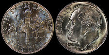 USA 10 CENTS 1957 SILVER (GEM UNC) *COLOURFUL MINT SET TONING*