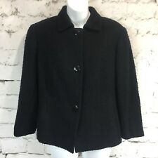 BROOKS BROTHERS Black Womens Sz 10 Blazer Suit Jacket Textured Linen Blend