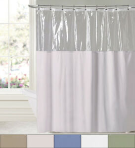 "See Through Clear Top 10 Gauge Vinyl Bath Shower Curtain 72"" x 72"""