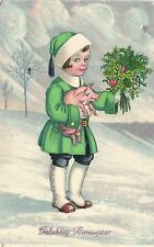 littel snow girls with pig and flowers Happy new year postcard 1928