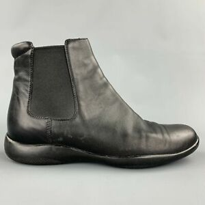 PRADA Sport Size 6.5 Black Leather Ankle Chelsea Boots