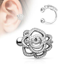 Rose with Paved Beads Rhodium Plated Brass Non Piercing Cartilage Ear Cuff Ring