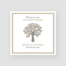 1st Paper Wedding Anniversary Card Personalised Handmade Modern Family Tree