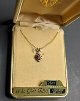 """Vintage 14k Gold Filled Pendant Genuine Red Stone 18"""" Chain"""