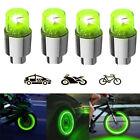 4 Pcs Led Wheel Tire Valve Stems Caps Green Flash Lights For Car Motorcycle Bike