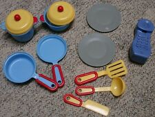 12pc Lot Vintage Fisher-Price Kitchen Phone All-in-One Play Center Plates Pots