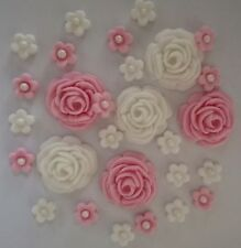 26 ROSES AND FLOWERS Various colours Edible sugar paste cake topper cupcakes