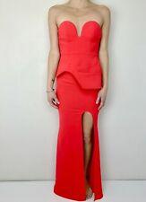 SHEIKE red strapless peplum waist party dress fishtail gown size 6 boned bodice