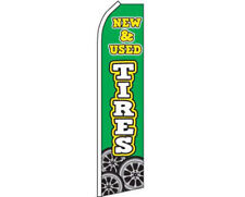 New & Used Tires Green / White Swooper Super Feather Advertising Flag