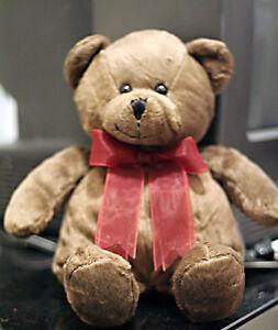 Teddy Bear Brown Red Ribbon Bow Medium Plush Stuffed Animal Baby Happy Collect
