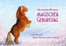 """Doppelkarte + Kuvert Glückwunschkarte Pony Pferd Einhorn """"Magischer Geburtstag"""""""