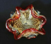 Mid Century Murano Art Heavy Glass Controlled Bubbles Amberina Red Ashtray Bowl