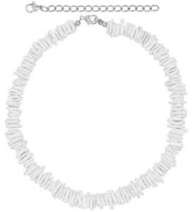 White Puka Shell Neckace - Hawaiian Style Clam Chip Surfer Necklace