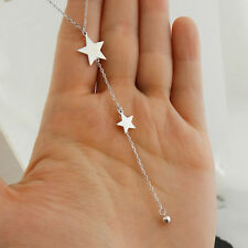 Stars Y Necklace - 925 Sterling Silver - Lariat Star Dangle Celestial Gift NEW
