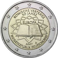 Deutschland 2 Euro Römische Verträge 2007 bankfrisch Gedenkmünze Münzzeichen A
