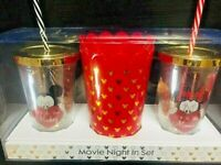 DISNEY 2er Kino Set Mickey Mouse & Minnie Maus Tasse Becher Movie Night Popcorn