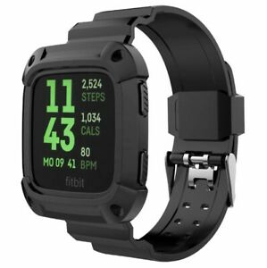 Fitbit Versa Replacement Case Rugged Wristband Protective Watch Band Black