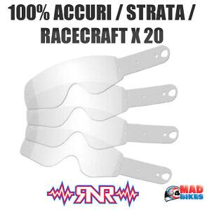20 Rip N Roll Enduro Motocross Goggle Tear Offs 100%, Accuri, Race Craft, Strata