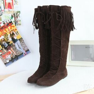 Women Pull On Tall Boots Tassels Knee High Moccasin Riding Boots Comfy Clubwear