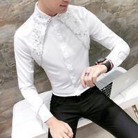 Men Gothic Steampunk Shirt Silk Satin Sequin Modern Formal Work Long Sleeve Slim