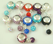 5pcs Gorgeous Czech Crystals Dangle Bead fit European Charm Bracelet Earrings &1