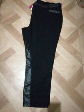SIMPLY BE BLACK FAUX LEATHER TRIM TROUSERS PLUS SIZE 30