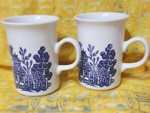 Vintage Churchill Blue Willow Coffee Tea Mugs pair