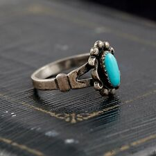 Antique Vintage Sterling Silver Bell Native Pawn Navajo Turquoise Ring! Sz 4.75
