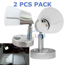 2X12V Frosted Glas Swivel LED Reading Light Boat/Caravan/Laptop/Book/BedsideLamp