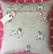 """""""Vintage Dog Breeds"""" cotton fabric cushion cover"""