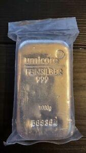 Umicore Silver Bullion Bar, 1kg, 999 fine, 1 kilo