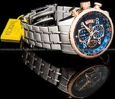 Invicta Mens Aviator Chronograph Rose Gold Silver Bracelet SS 48mm Watch 17203