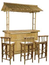 Bar Theke Tresen aus Bambus mit 3 Barhocker Bambusbar Gartentheke Partykeller