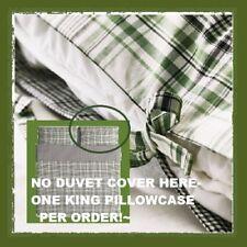 IKEA Snarjmara King Pillowcase SNÄRJMÅRA Green Black Plaid Check-Sold In Singles