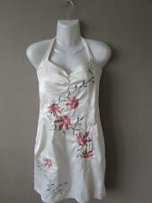 JANE NORMAN Ladies Ivory Cream Satin Halterneck Dress Floral Embroidery Size 10